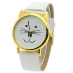 BARGAIN Cat Face Shape Dial Alloy Faux Leather Watch JUST £1.99 At Amazon - Gratisfaction UK