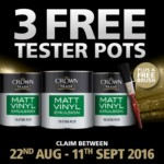 FREE 3 Crown Paint Tester Pots - Gratisfaction UK