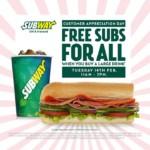FREE Subway 6 Inch Sub
