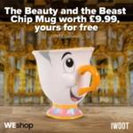 FREE Beauty & The Beast Chip Mug - Gratisfaction UK