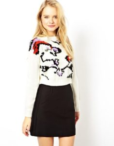 ASOS Cropped Jumper With Abstract Floral Design WAS £32 NOW £7.99 at ASOS Gratisfaction UK Flash Bargains