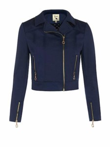 Yumi Cropped Navy Biker Style Jacket Was £75 Now £22 at House of Fraser Gratisfaction UK Flash Bargains