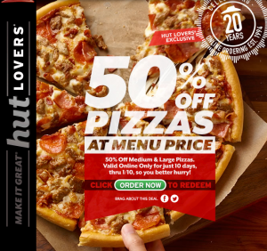 Verified on 7 Dec Pizza Hut is Offering Flat 50% OFF On Medium Pan Pizzas. This is valid for all new and existing users. This discount code is applicable only on .